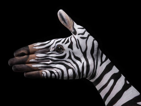 This hand painting was inspired द्वारा zebra.