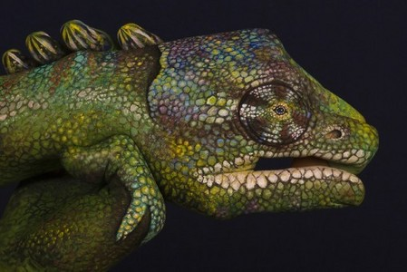 This hand painting was inspired by iguana.