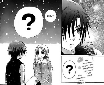 Natsume asks what present for Christmas to mikan in the chapter 144?