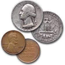 One coin is a silver washington quarter the other coin is a wheat penny, true or false