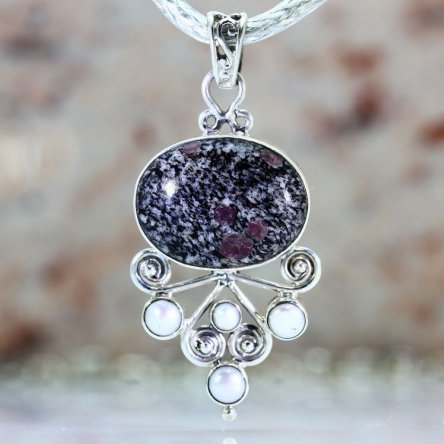 This pendant was made of Snowflake Obsidian & Pearls.