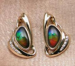 These earrings were made of Ammolite.