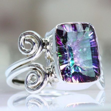 This ring was made of Mystic Topaz.