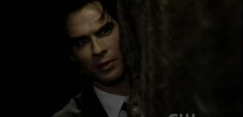 What does Damon say after Katherine tells him Elena's in danger and needs to be protected?