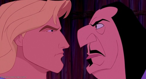 T/F: John Smith, Aladdin, and Beast the only male protagonists that ever talk to their villain in 19s Disney movies.