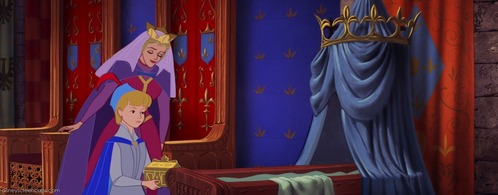 What is the color of the tablecloth on the right of King Stefan?
