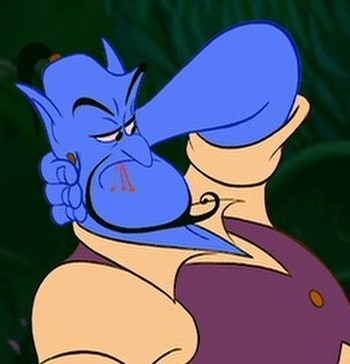 How many needles on Genie's hand in this scene?