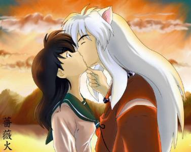 tagahanga Art of InuYasha and Kagome halik