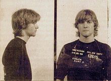 Cobain's police mugshot after his arrest for vandalism.