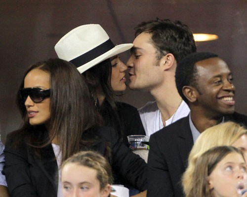 Ed Westwick and Jessica Szohr at the US Open (September 1)