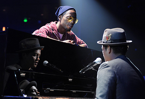Bruno Mars rehearses at the Nokia Theater for the 2010 এমটিভি VMAs.