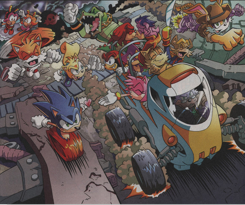 The Freedom Fighters and Team Chaotix after Eggman/Robotnik's defeat!