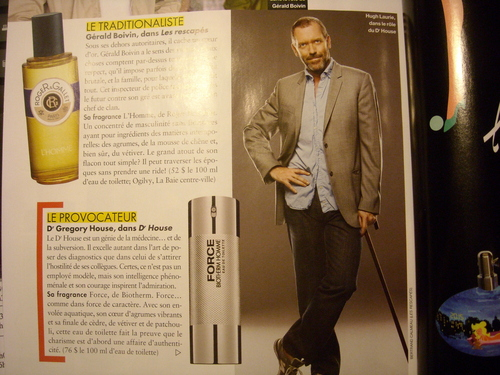 Hugh/House perfume ad in 'Elle Québec'' November 2010 issue