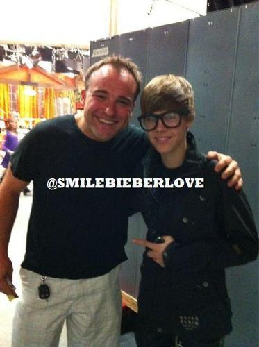 Justin Bieber on the set of Wizards of Waverly Place.