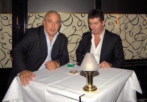 Sir Philip Green And Simon Cowell Having chajio, chakula cha jioni At Scotts