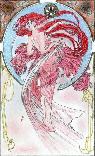 Ariel in Alfons Mucha style