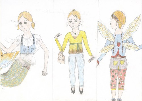 Transformation: Modern mermaid, human and fairy