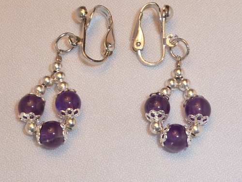 Handmade Amethyst Clip-on Earrings