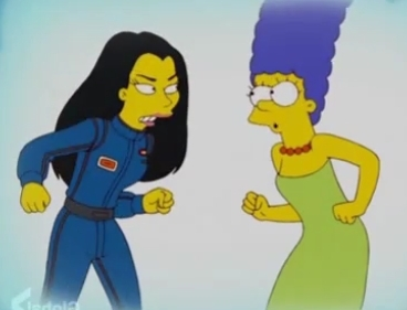 Danica and Marge Simpson about to engage in a fight!
