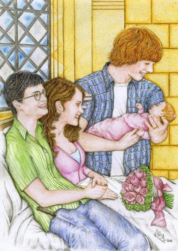 Harry with Hermione and Ron and baby Rose