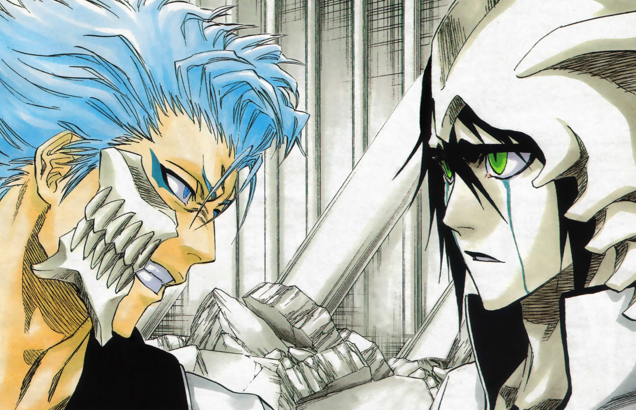 bleach anime images grimmjow vs. ulquiorra hd wallpaper and