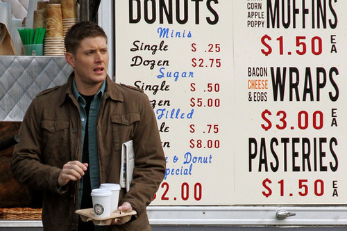 Jared Padalecki and Jensen Ackles on Set