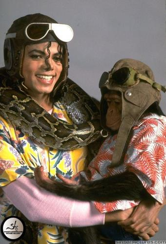 Michael with his monkey bubbles and his snake