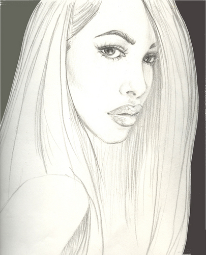 Aaliyah Sketch in Black and White