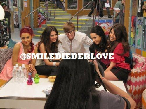 Justin Bieber on the set of Victorious
