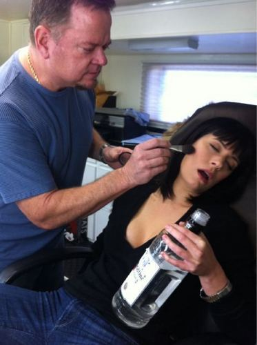 Paget and Dayne after 16 hours on CM set