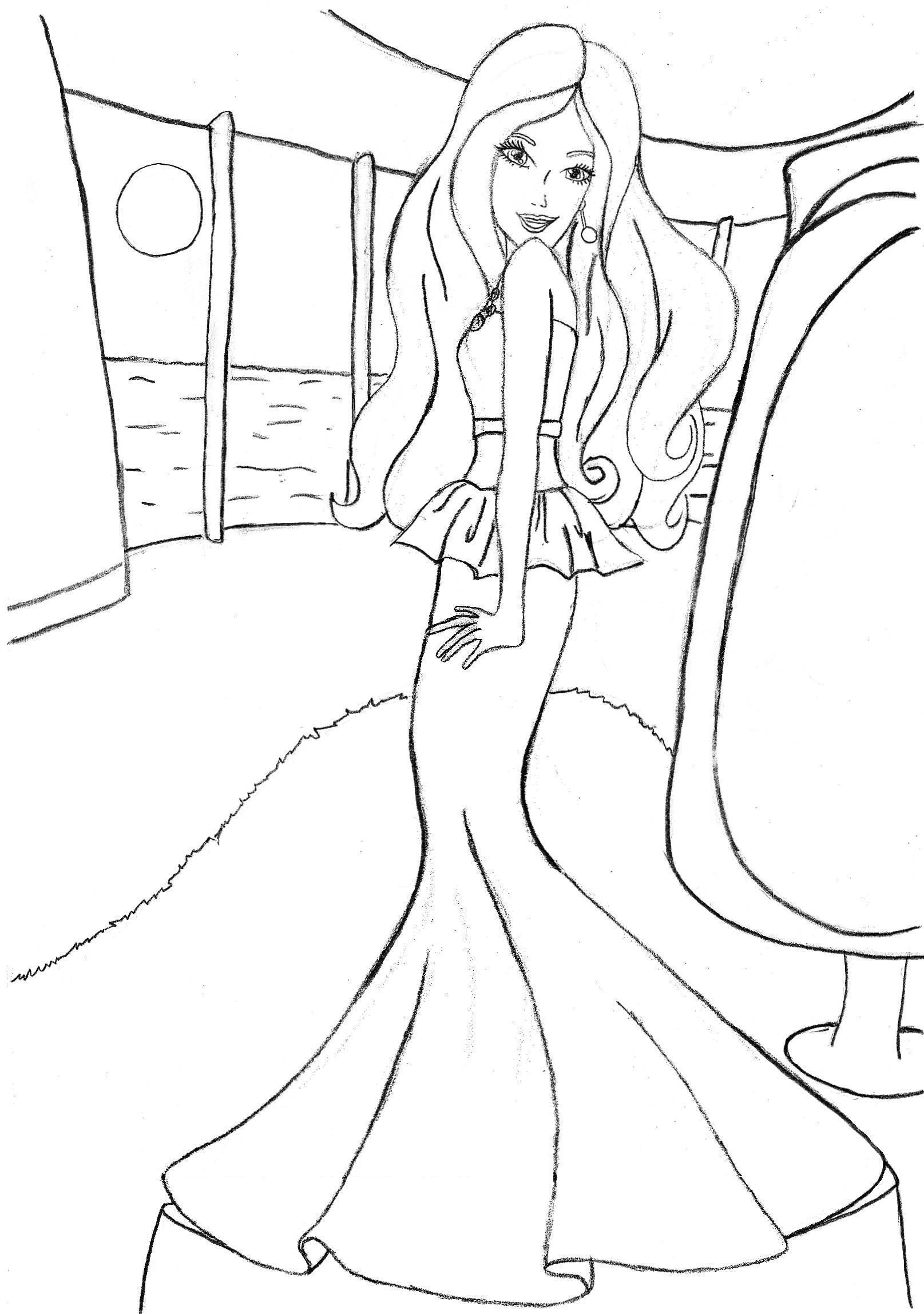 It is an image of Universal Barbie Fairy Coloring Pages