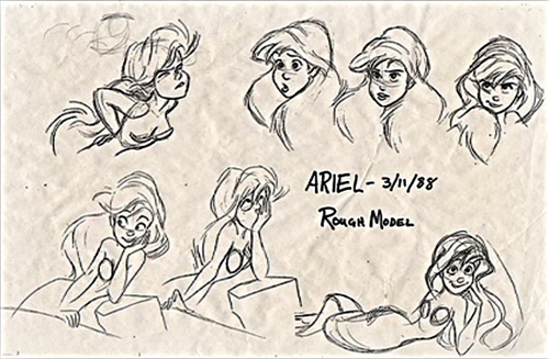 Walt डिज़्नी Sketches - Princess Ariel