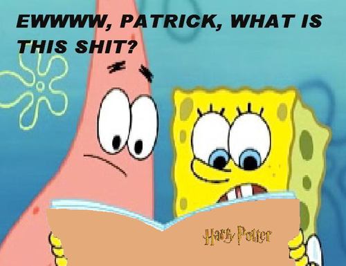 Spongebob and Patrick read Harry Potter