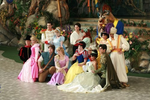 Disney princesses and princes in DisneyLand