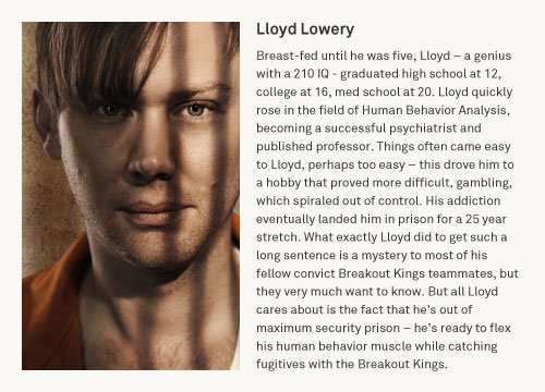 Jimmi Simpson as Lloyd Lowery in a 'Breakout Kings': Official Character Beschreibung