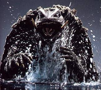gamera rising from water