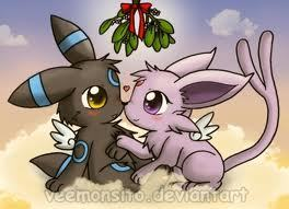 Umbreon and Espeon Under the Mistletoe