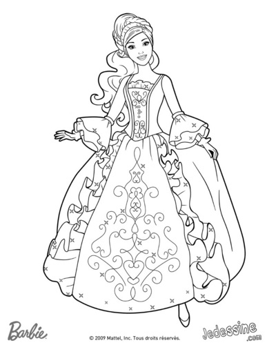 Aramina in ball dress- coloring page