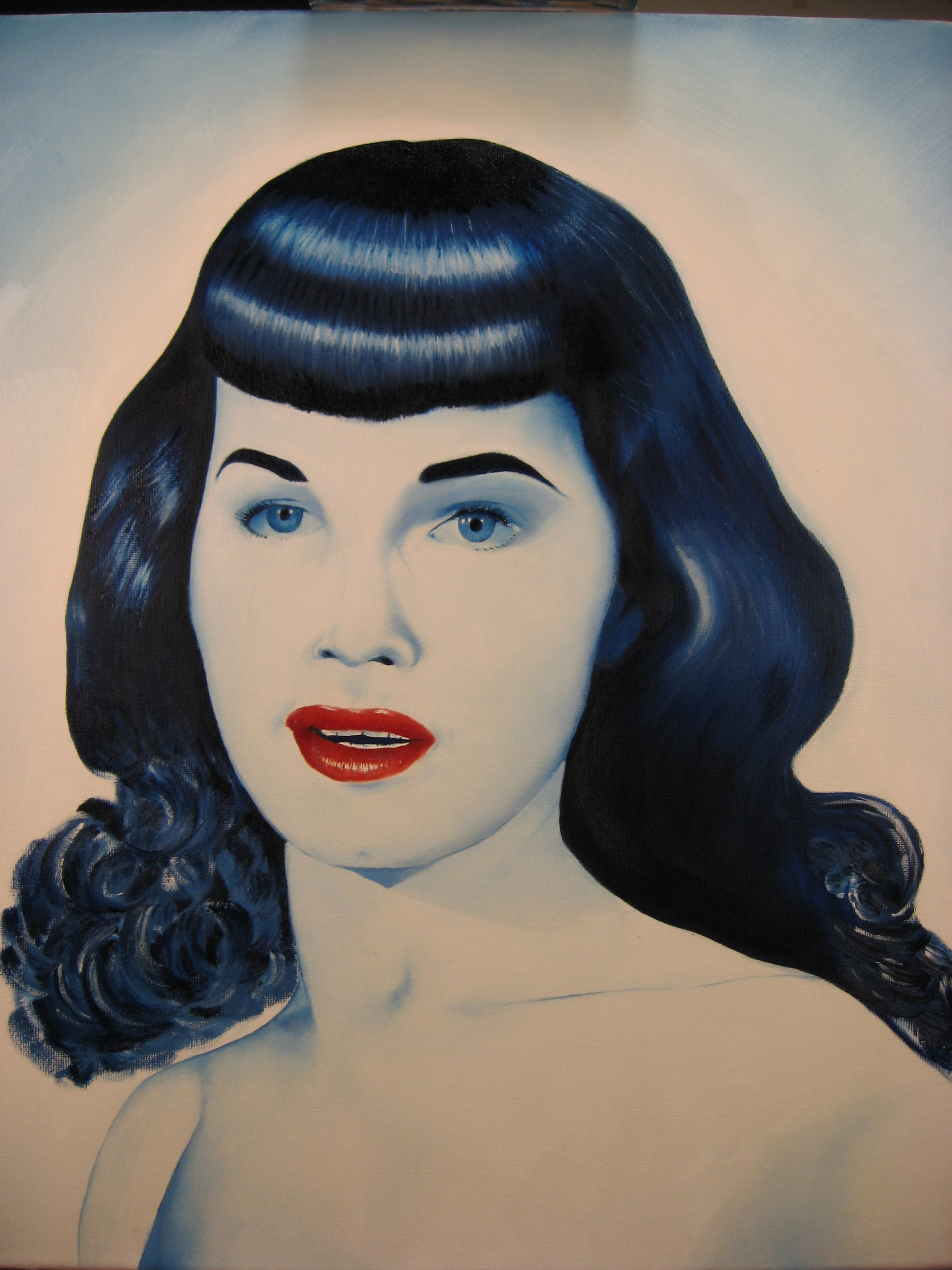 Bettie Page Hd bettie in blue - bettie page fan art (20357805) - fanpop