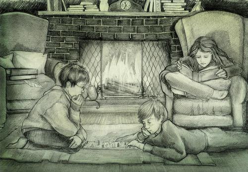 Harry, Ron, and Hermione in the common room