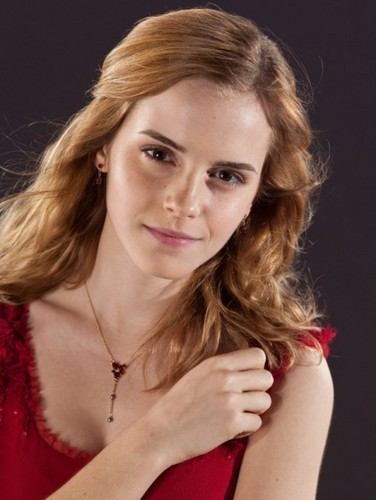 hermione granger in red dress from the wedding in harry potter 7