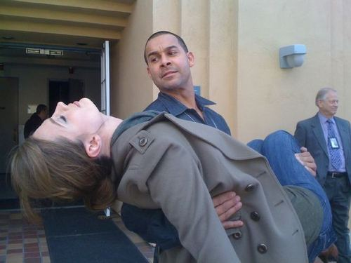 Stana and Jon on Set