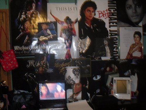 "My ""MJ"" Filled room. (Only one side of my wall) <3"