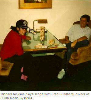 Rare_MJ playing jenga with Brad Sundberg:)