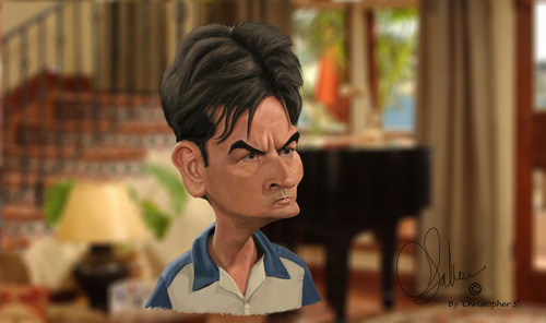 Charlie Sheen,Caricature によって 'ChristopherS' (Two and a half men)