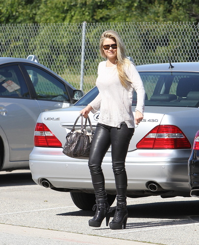 Out & About in Tight Leather Pants & Heels - April 8, 2011