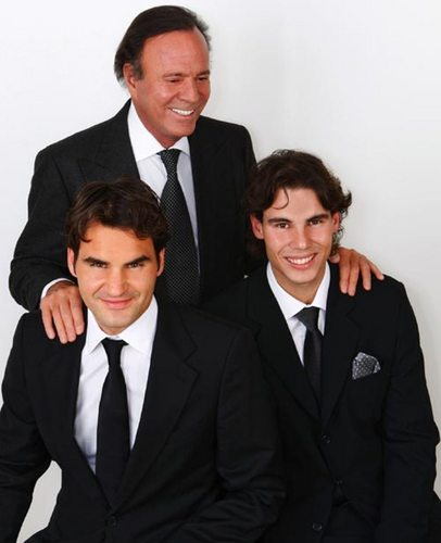 Julio Iglesias in Madrid with Rafa Nadal and Roger Federer