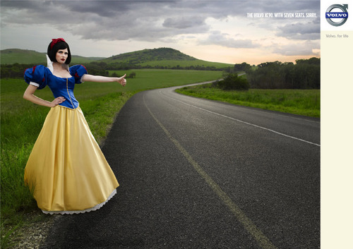 Snow White hitchhiking