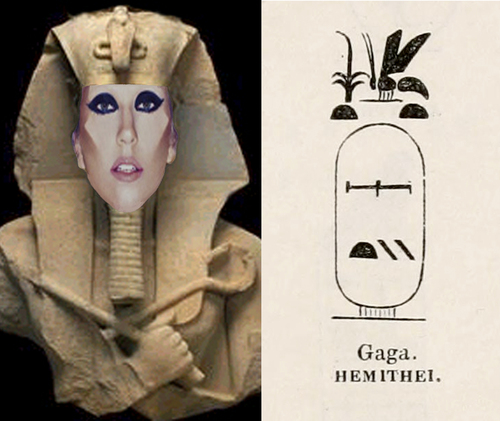 Lady Gaga as Egyptian God and Cartouche of God Named Gaga