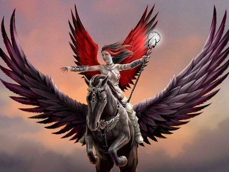 Angel riding a Pegasus